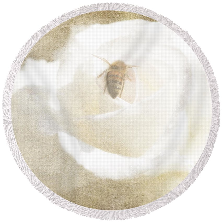 Bee Round Beach Towel featuring the photograph Miss Bee Haven II by Linda Dunn
