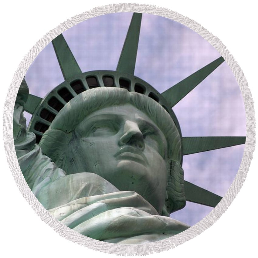 Statue Of Liberty Round Beach Towel featuring the photograph Miss Liberty by Living Color Photography Lorraine Lynch