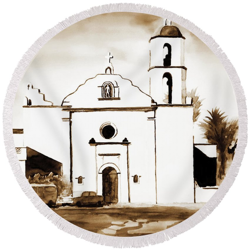 Mission Round Beach Towel featuring the painting Mission San Luis Rey In Sepia by Kip DeVore