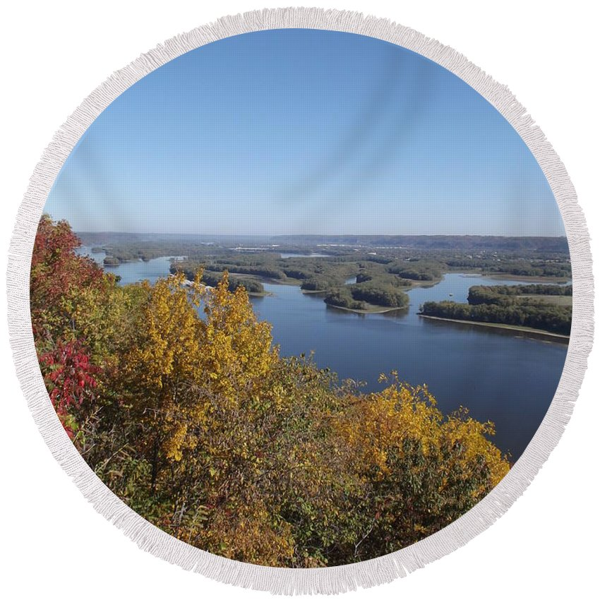 River Round Beach Towel featuring the photograph Mississippi River Fall by Bonfire Photography