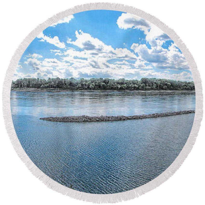 Mississippi River Round Beach Towel featuring the photograph Mississippi River Panorama by C H Apperson