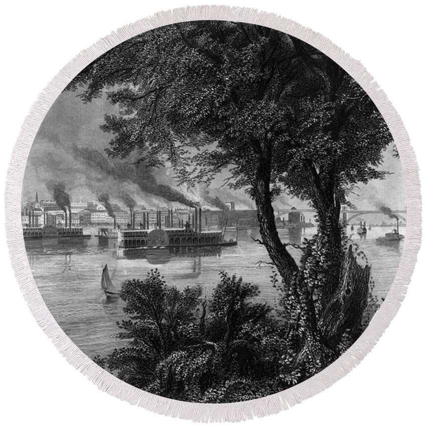 1872 Round Beach Towel featuring the photograph Missouri: St. Louis by Granger