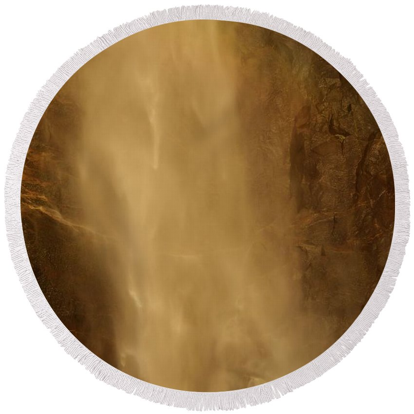 Yosemite National Park Round Beach Towel featuring the photograph Mist by Adam Jewell