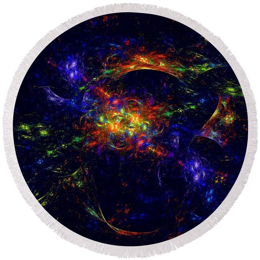Misterious Round Beach Towel featuring the digital art Misterious Universe by Klara Acel