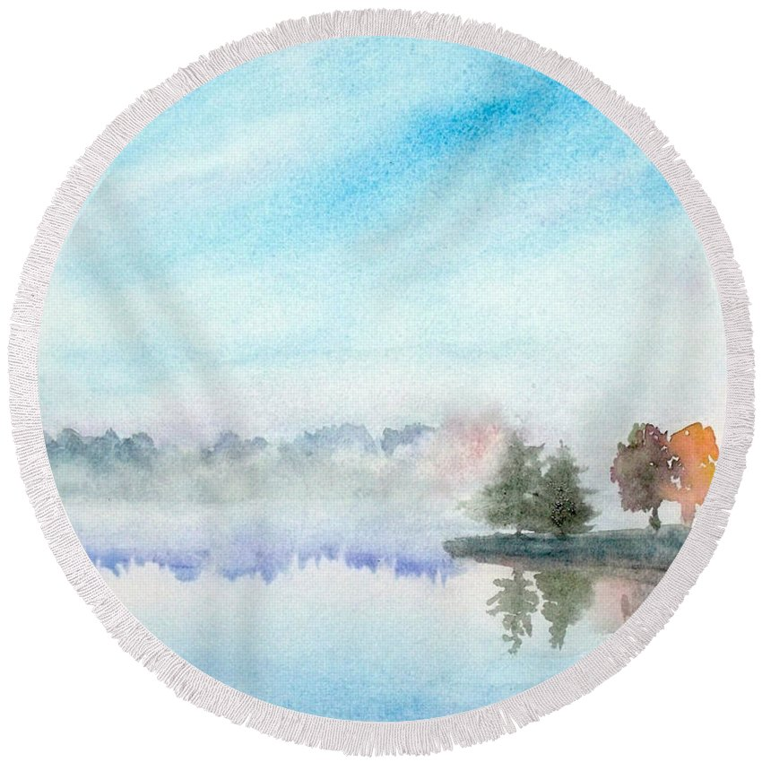 Lakeview Round Beach Towel featuring the painting Misty Lake by Yoshiko Mishina