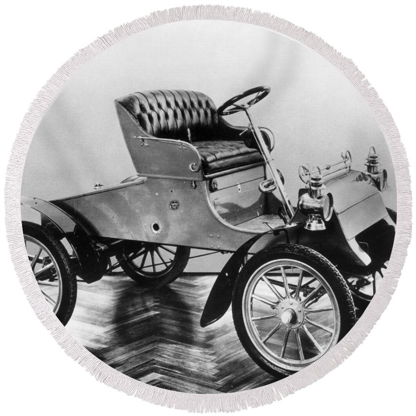 1903 Round Beach Towel featuring the photograph Model A Ford, 1903 by Granger