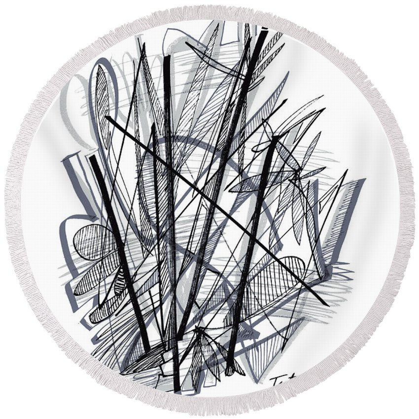 Modern Drawing Round Beach Towel featuring the drawing Modern Drawing 112 by Lynne Taetzsch