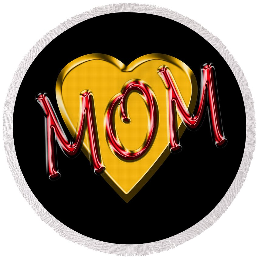 Mom Round Beach Towel featuring the digital art Mom 2 by Andrew Fare