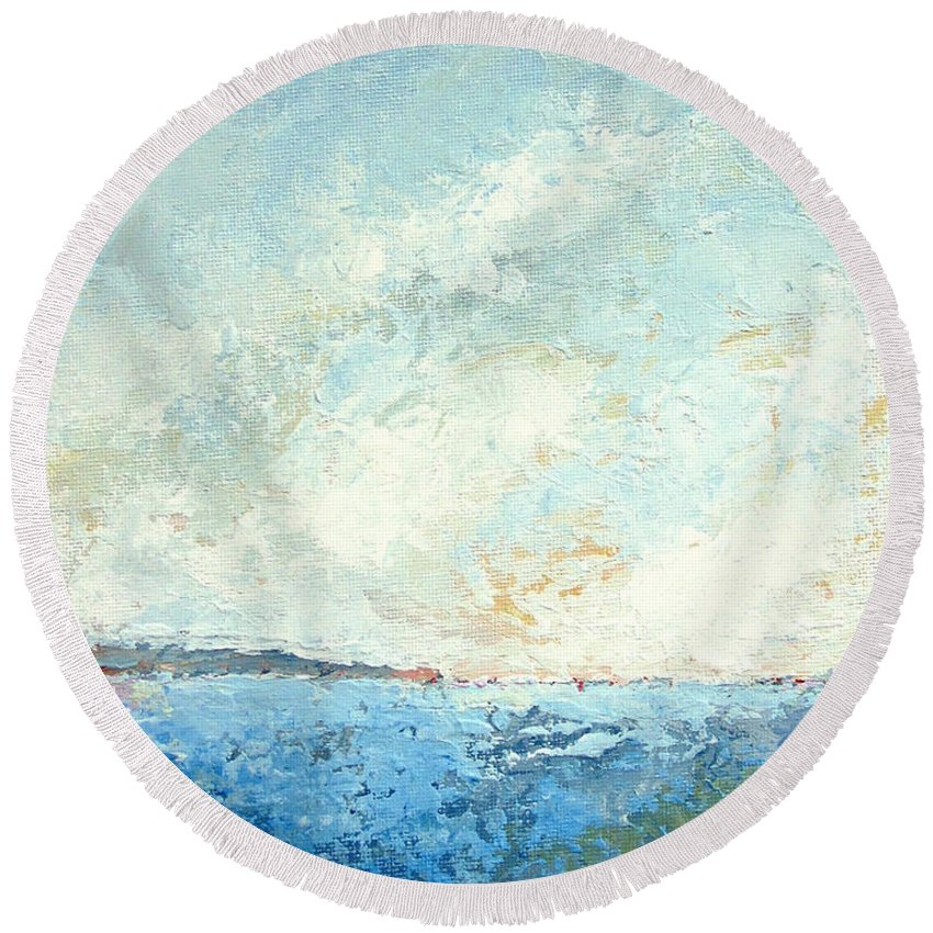 Seascape Round Beach Towel featuring the painting Monhegan From Pemaquid by Mary Brooking