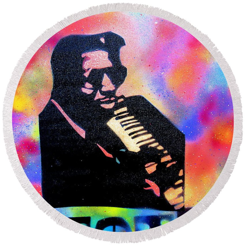 Thelonious Monk Round Beach Towel featuring the painting Monk by Tony B Conscious