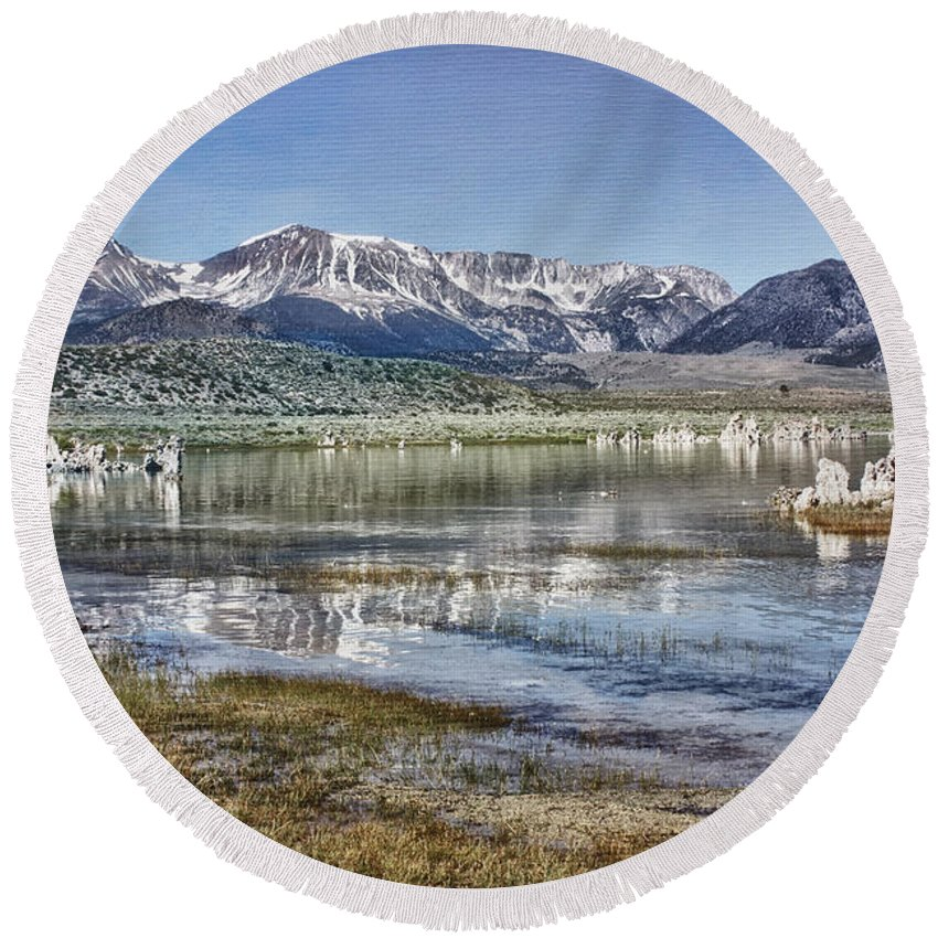 Mammoth Mountains Round Beach Towel featuring the photograph Mono Lake Sierra by Linda Dunn