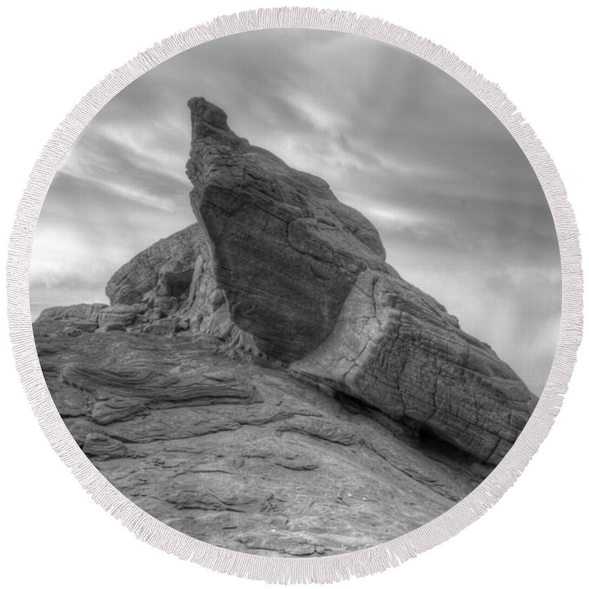 Monochrome Round Beach Towel featuring the photograph Monochrome Landscape Project 1 by Bob Christopher