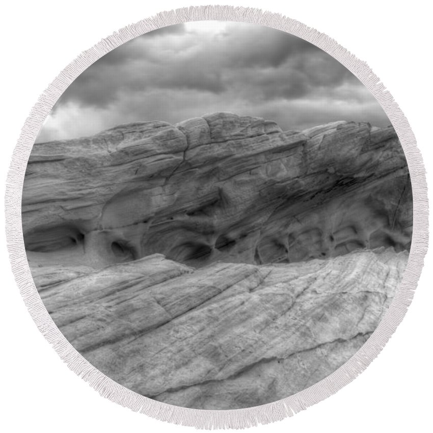Monochrome Round Beach Towel featuring the photograph Monochrome Landscape Project 3 by Bob Christopher