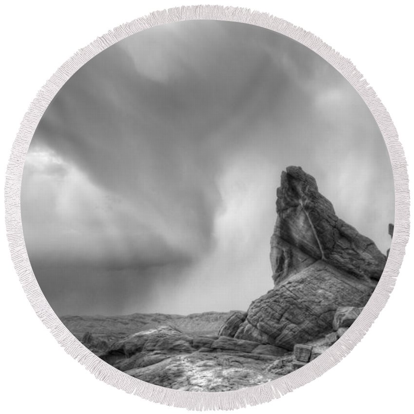 Monochrome Round Beach Towel featuring the photograph Monochrome Landscape Project 5 by Bob Christopher