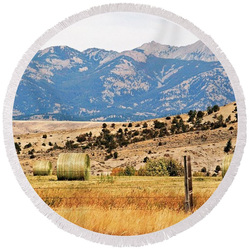 Montana Round Beach Towel featuring the photograph Montana Farm9404 by Michael Peychich