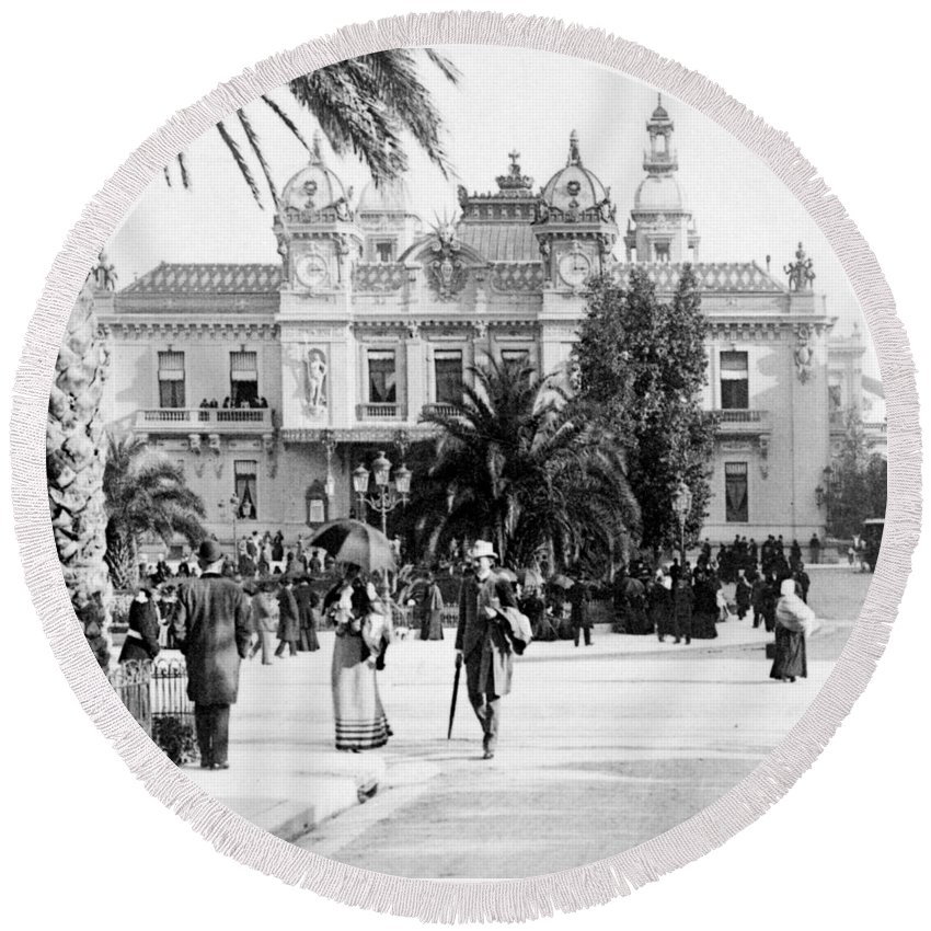 Gambler Round Beach Towel featuring the photograph Monte Carlo - Casino - C 1898 by International Images