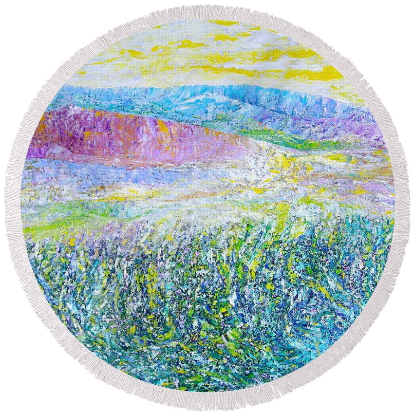 Landscape Round Beach Towel featuring the painting Monterey by Dulcie Dee