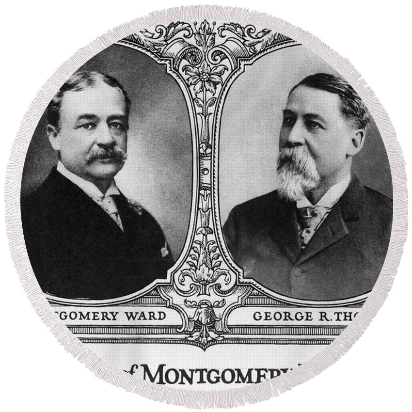 19th Century Round Beach Towel featuring the photograph Montgomery Ward Founders by Granger