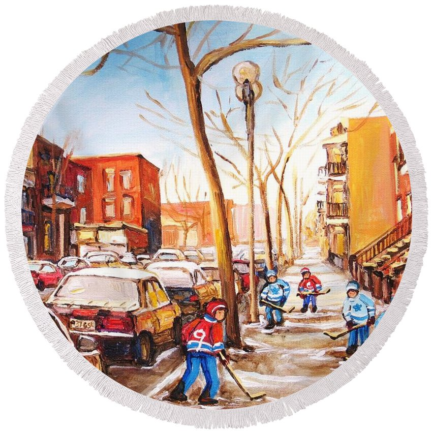 Montreal Street Scene With Boys Playing Hockey Round Beach Towel featuring the painting Montreal Street With Six Boys Playing Hockey by Carole Spandau