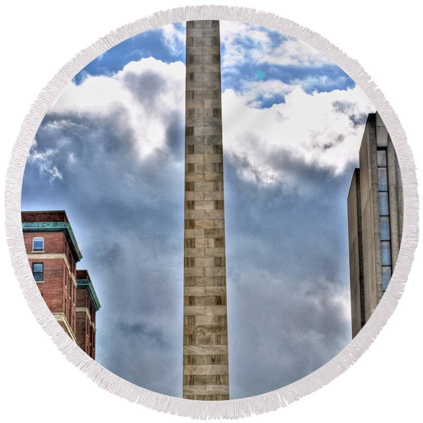 Round Beach Towel featuring the photograph Monument by Michael Frank Jr