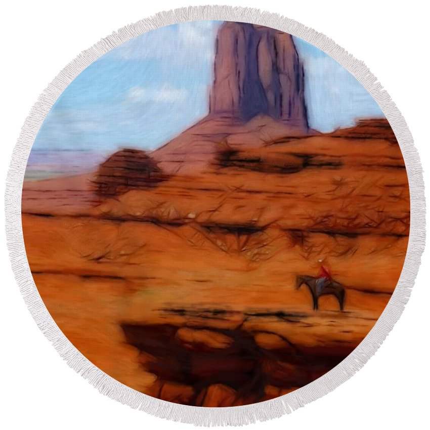 Monument Valley America Canyon Landscape Nature Drawing Painting Oil Pastel Round Beach Towel featuring the pastel Monument Valley Pastel by Steve K