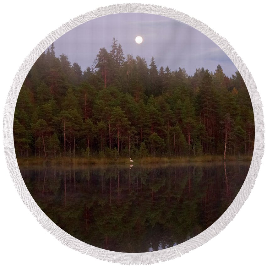 Lehtokukka Round Beach Towel featuring the photograph Moon Reflection by Jouko Lehto