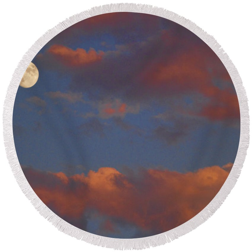 Luna Round Beach Towel featuring the photograph Moon Sunset by James BO Insogna