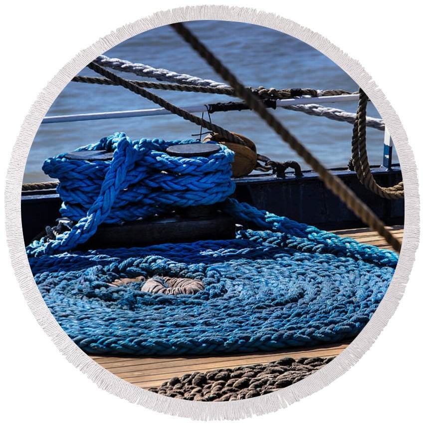 Ship Round Beach Towel featuring the photograph Moored Ship by Edgar Laureano