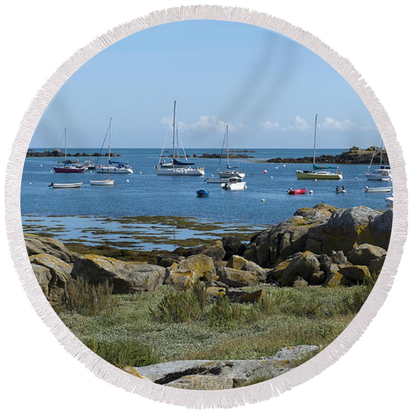 Brittany Round Beach Towel featuring the photograph Moorings Iles Chausey by Gary Eason
