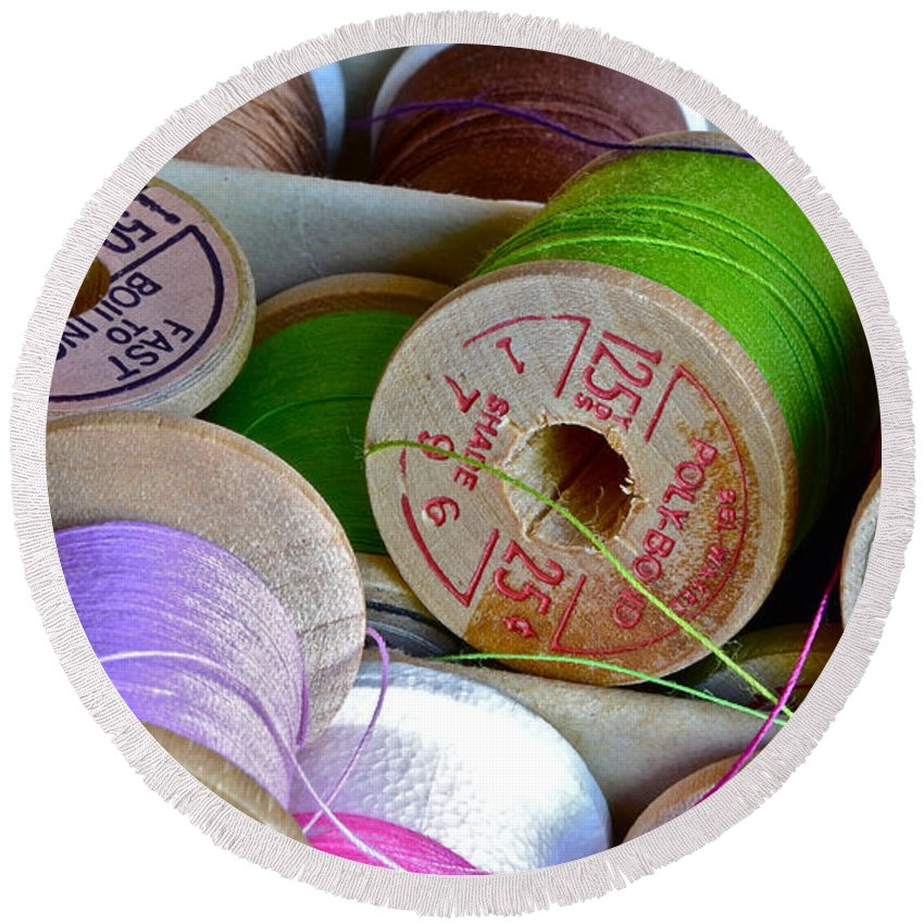 Spools Round Beach Towel featuring the photograph More Loose Threads by Bill Owen
