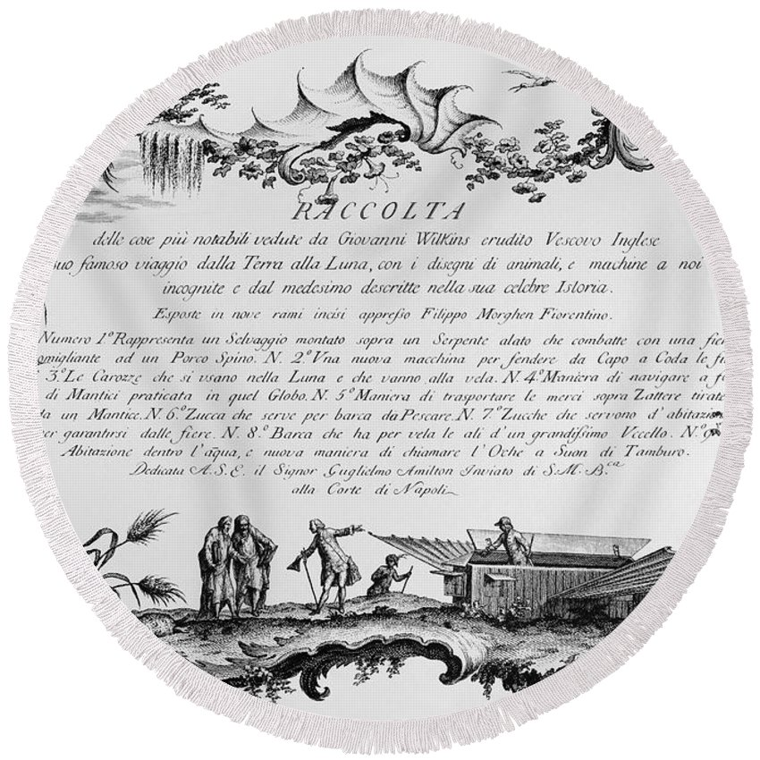 1768 Round Beach Towel featuring the photograph Morghen: Raccolta, 1768 by Granger