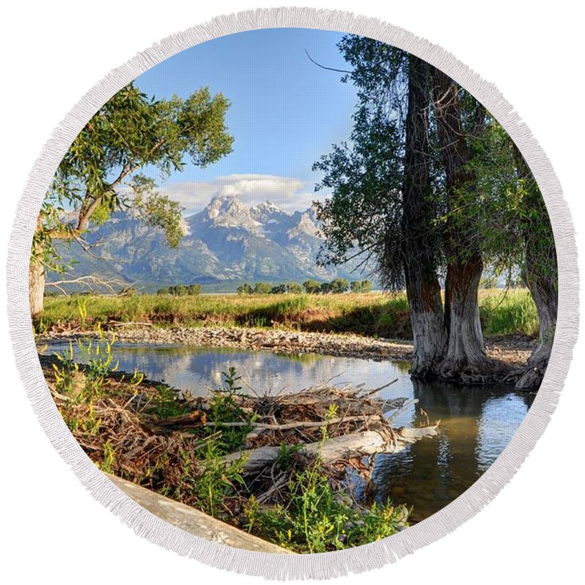Grand Round Beach Towel featuring the photograph Mormon Row Stream - Grand Teton National Park by Gary Whitton