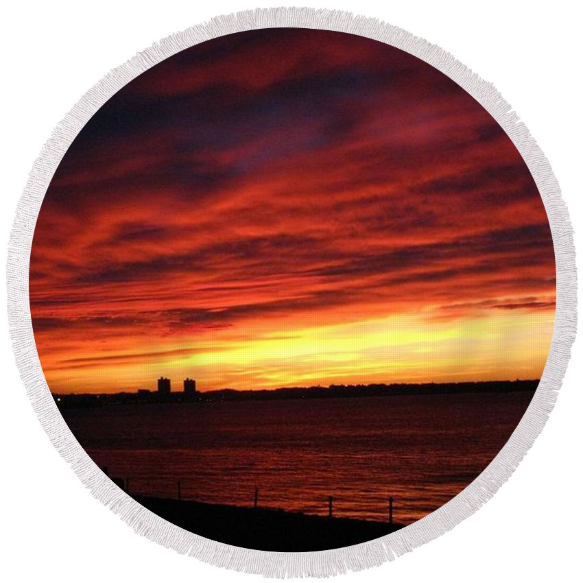 Morning Round Beach Towel featuring the photograph Morning Fire by Robert McCulloch