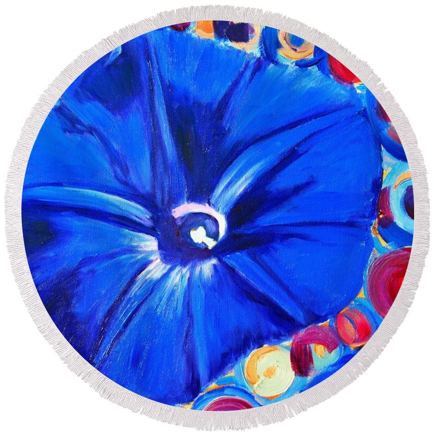 Morning Glory Round Beach Towel featuring the painting Morning Glory Flower by Ana Maria Edulescu