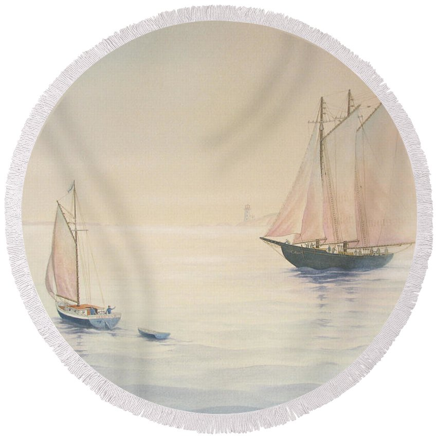 Harbour Round Beach Towel featuring the painting Morning Glow by Robert Boast Cornish