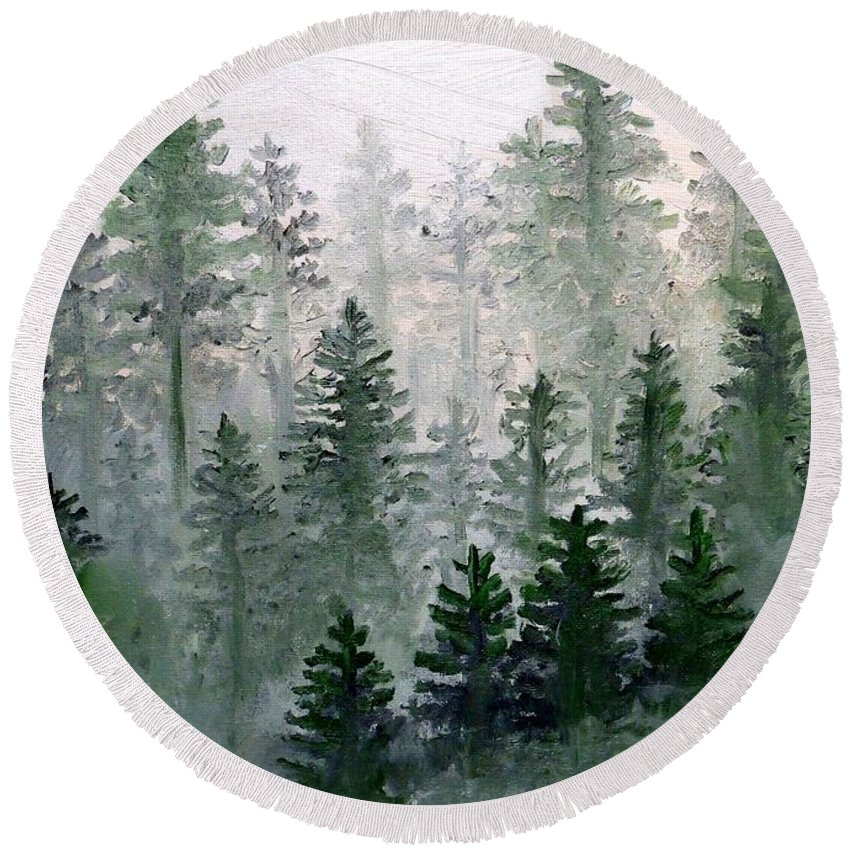Trees Round Beach Towel featuring the painting Morning In The Mountains by Shana Rowe Jackson