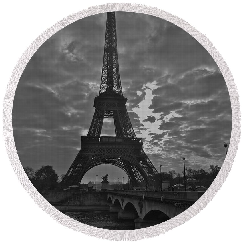 Eiffel Tower Round Beach Towel featuring the photograph Morning Light by Eric Tressler