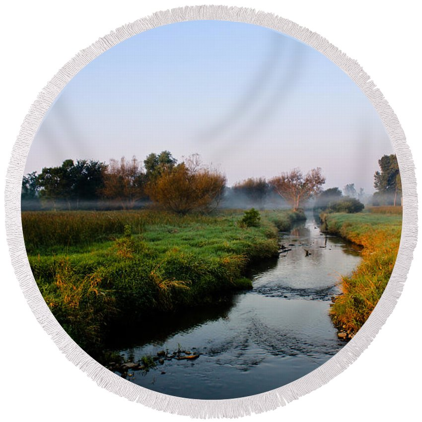 Stream Round Beach Towel featuring the photograph Morning Mist by Lauri Novak