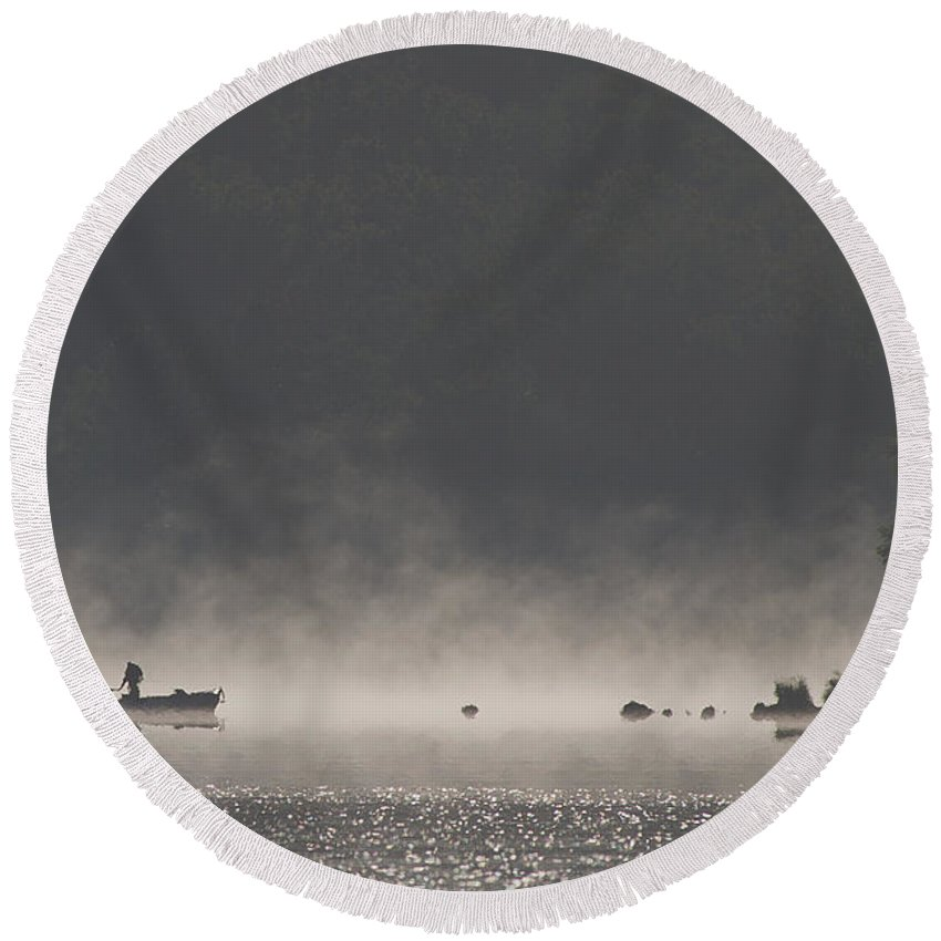 Fog Round Beach Towel featuring the photograph Morning On The Lake by Dan Wells