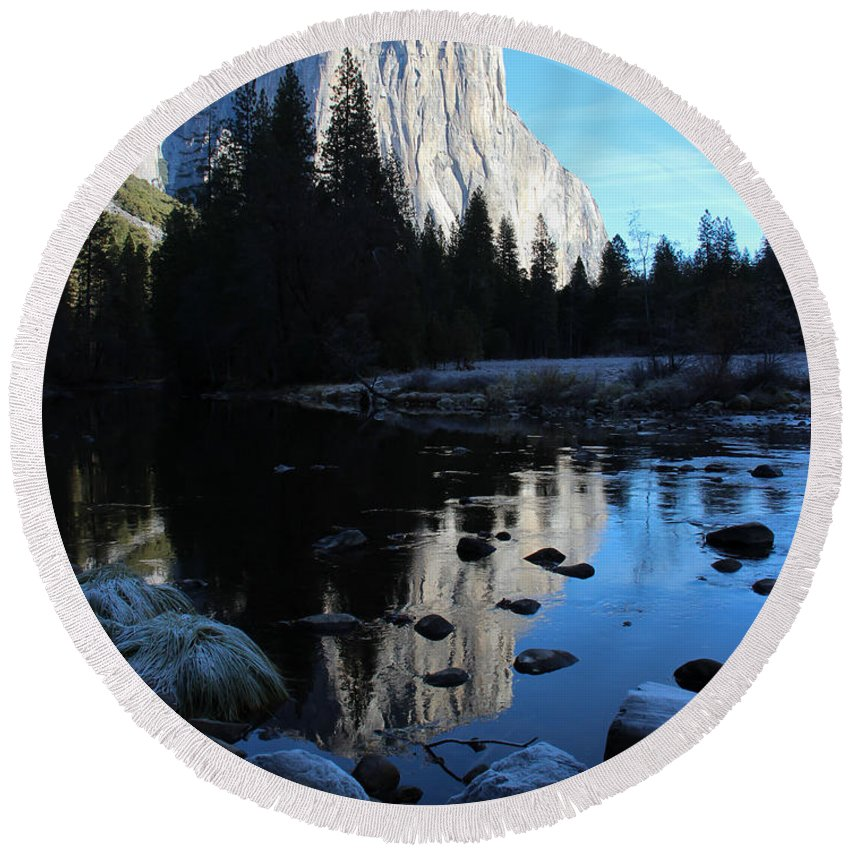 Yosemite Round Beach Towel featuring the photograph Morning Sunlight On El Cap by Heidi Smith
