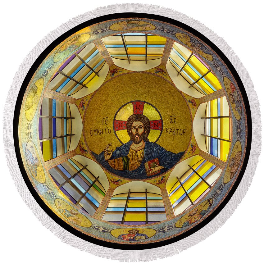 Christ Mosaic On Ceiling Of St Demetrios Greek Orthodox Round Beach Towel featuring the photograph Mosaic Christ by Mike Penney