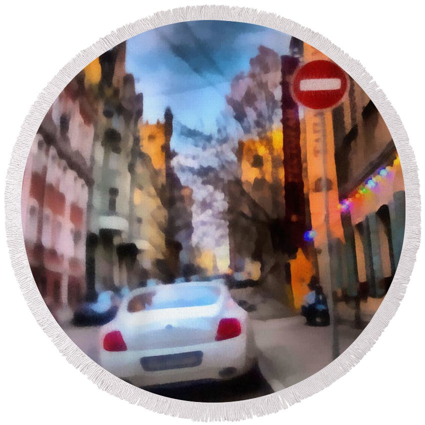 Art Round Beach Towel featuring the photograph Moscow's Streets by Michael Goyberg