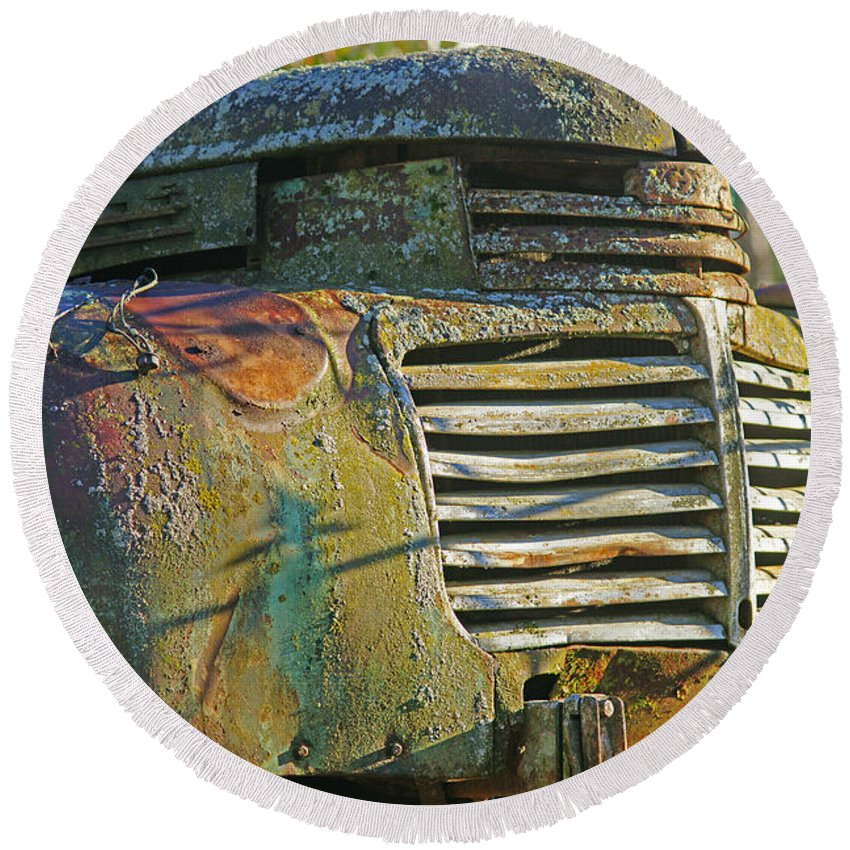 Cars Round Beach Towel featuring the photograph Moss Covered Grill by Randy Harris