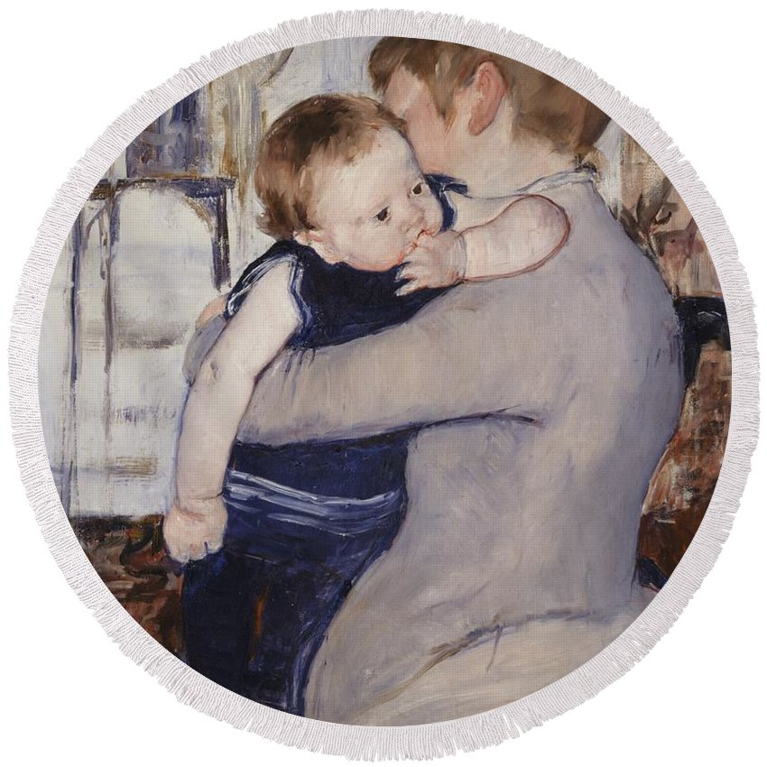 Female Round Beach Towel featuring the painting Mother And Child by Mary Stephenson