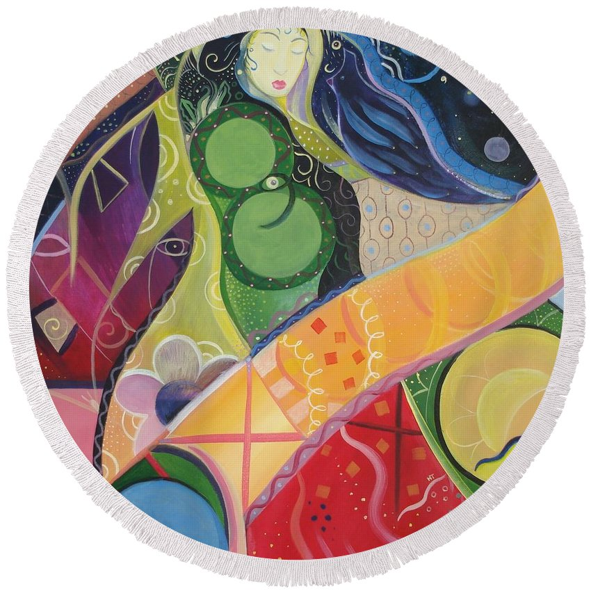 Feminine Round Beach Towel featuring the painting Mother And Matter by Helena Tiainen