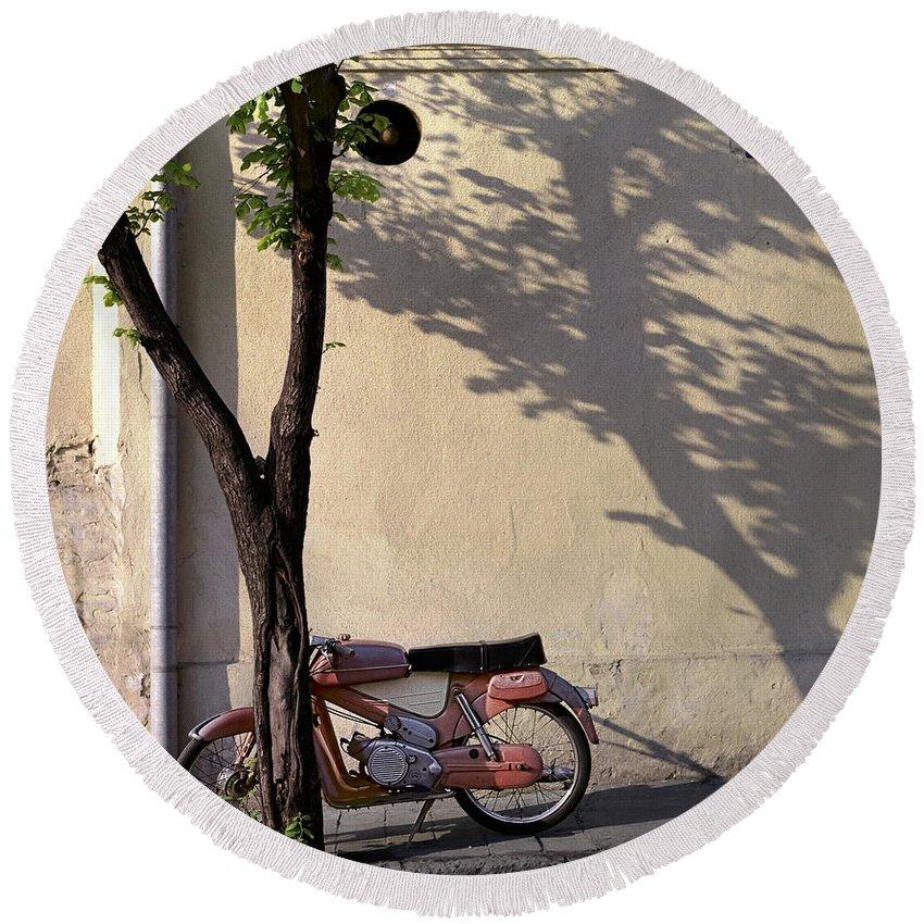 Serbia Belgrade Round Beach Towel featuring the photograph Motorcycle And Tree. Belgrade. Serbia by Juan Carlos Ferro Duque