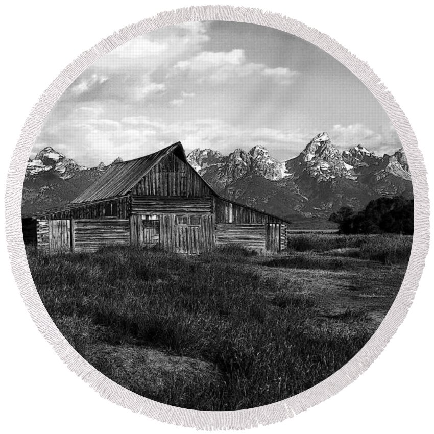 Black White Moulton Barn Grand Teton National Park Wyoming Usa Round Beach Towel featuring the photograph Moulton Barn by Paul Cannon