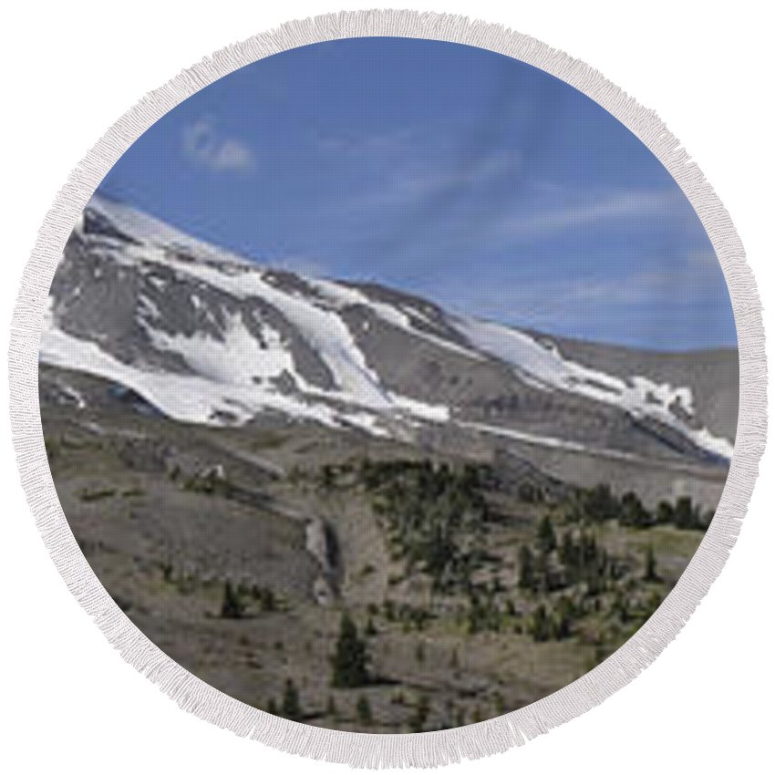 Americas Round Beach Towel featuring the photograph Mount Hood Pano by Roderick Bley