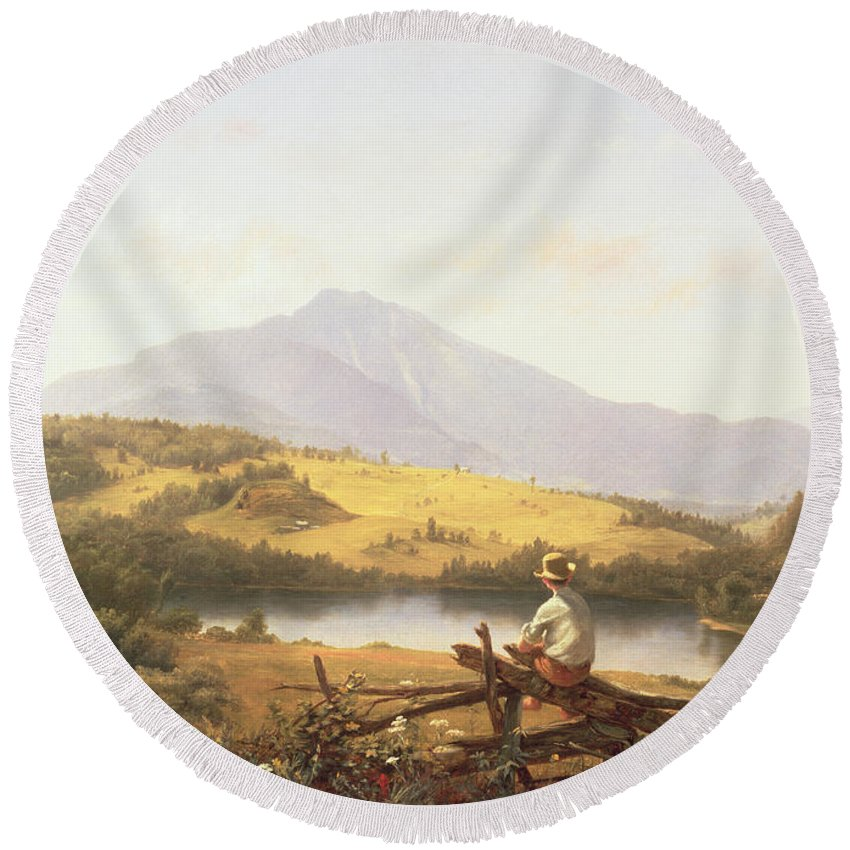 Mount Mansfield Round Beach Towel featuring the painting Mount Mansfield by Jerome Thompson