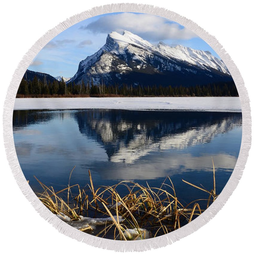 Mount Rundle Round Beach Towel featuring the photograph Mount Rundle In Winter by Vivian Christopher